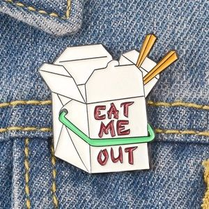 Funny Chinese Take Out Food Container Enamel Pin